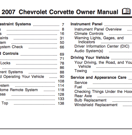 2009 chevy corvette owners manual