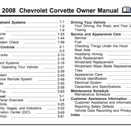 2008 Corvette Owner Manual