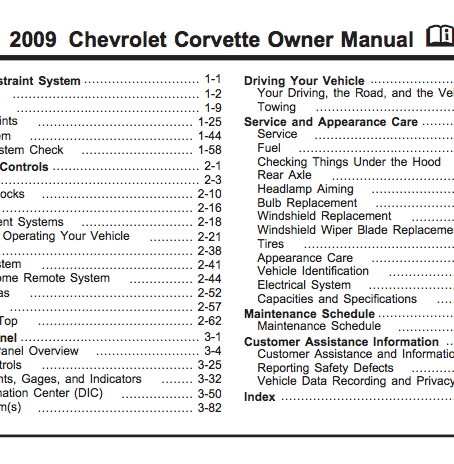 2009 Corvette Owner Manual