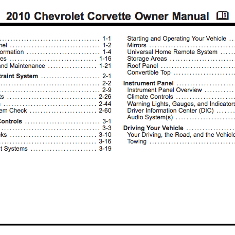 2010 Corvette Owner Manual