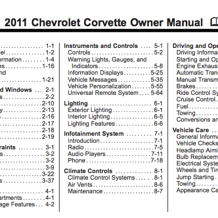 2011 Corvette Owner Manual