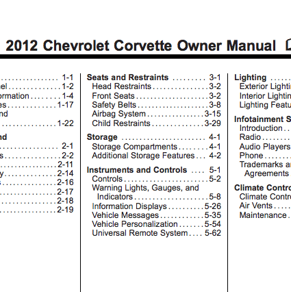 2012 Corvette Owner Manual