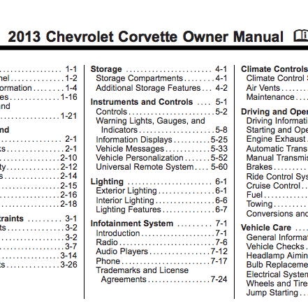 2013 Corvette Owner Manual