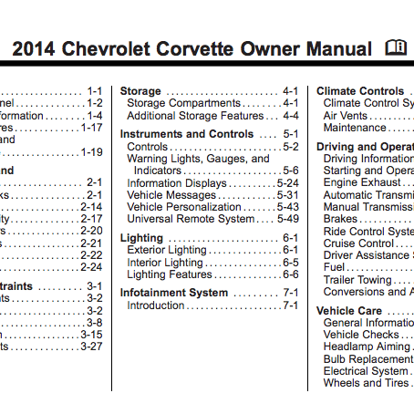 Corvette 2014 Owners Manual