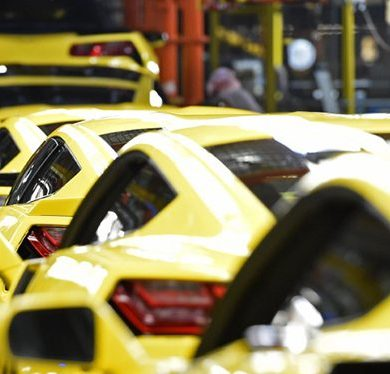 Competition Yellow Corvettes at Bowling Green Manufacturing Plant