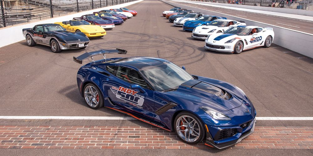 2019 Corvette ZR1 pace car with other Indianapolis 500 Corvette pace cars.