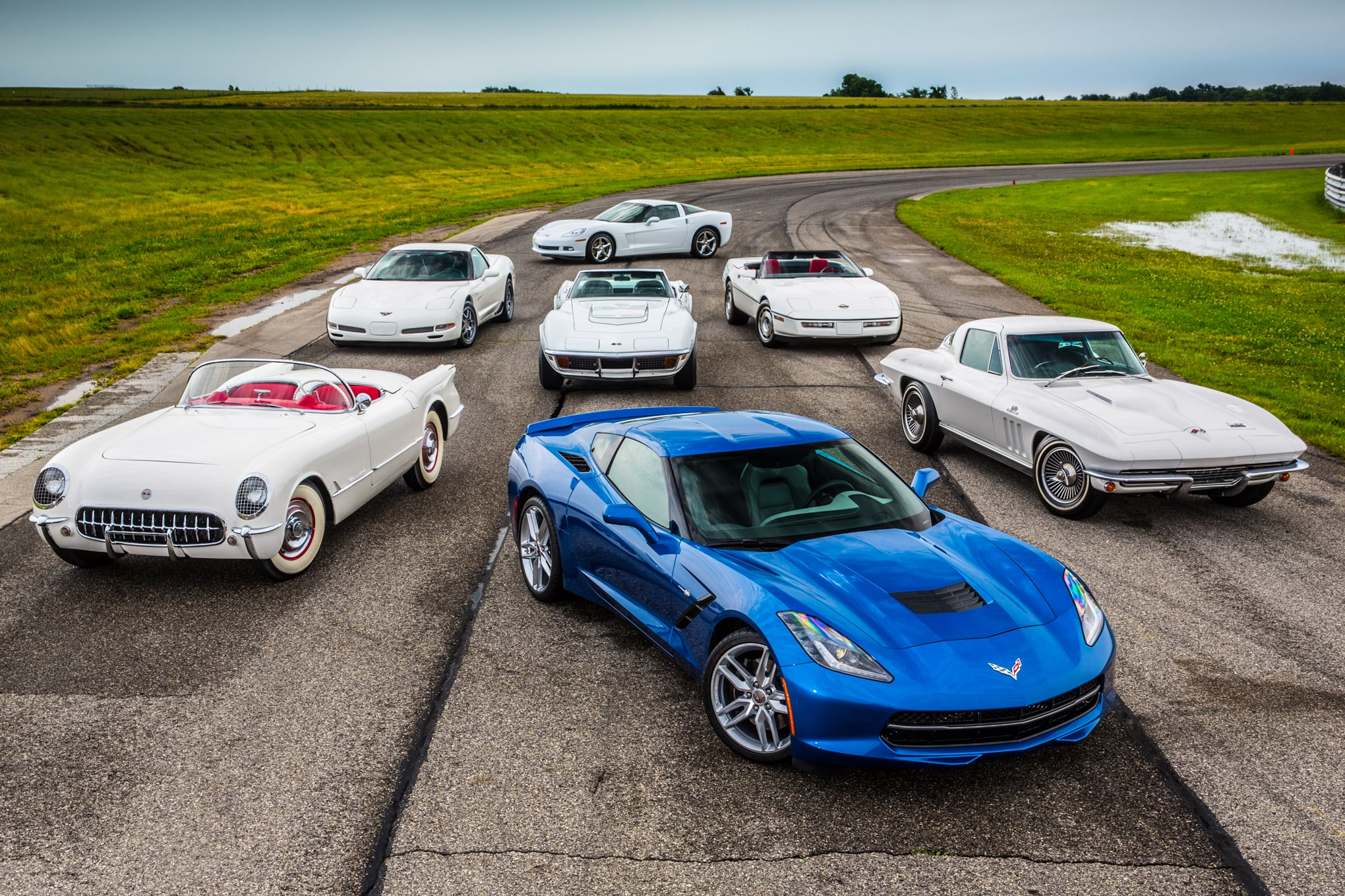Corvette Stingray blue all seven generations.