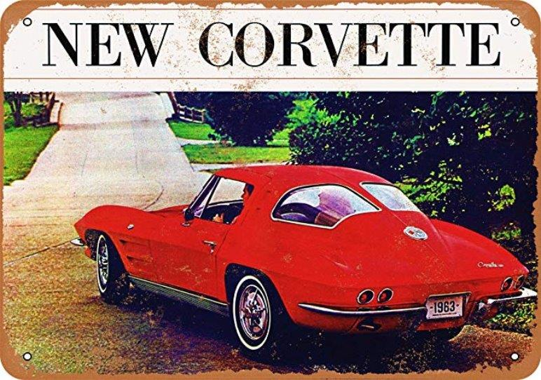 1963 Corvette Metal Sign