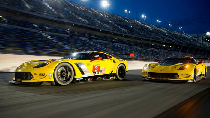 The No. 3 and No. 4 Corvette Racing C7.R Race Car
