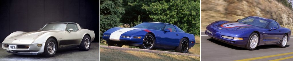 1982, 1996 and 2004 Collector Edition Corvettes