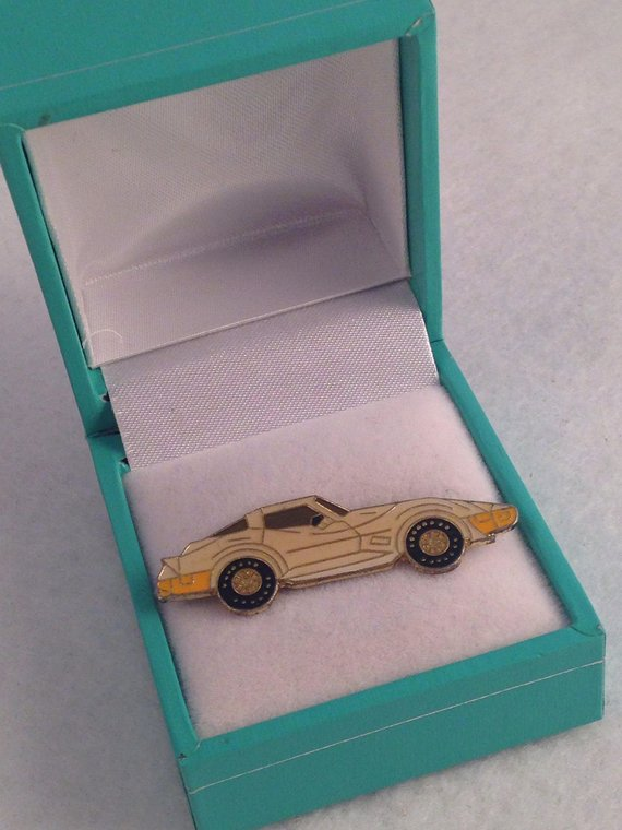 Vintage 1980's Corvette Tie Lapel Pin Antique Car