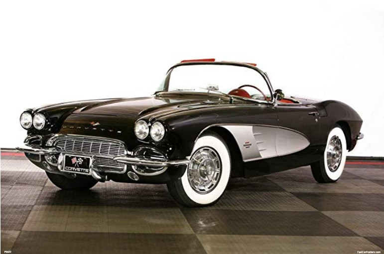 1958 Black Chevrolet Corvette C1 Poster