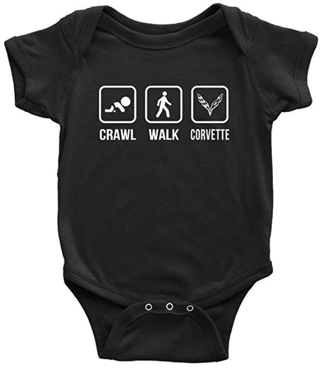 Emily gift Crawl, Walk, Corvette, Bodysuits Baby T-Shirt Cute
