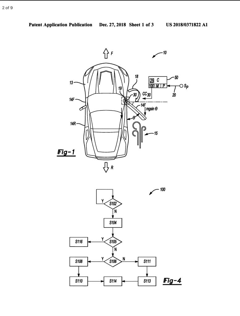 mid-engine Corvette electric door patent