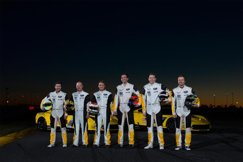 The 2019 drivers line-up for Corvette Racing include (from left to right): Mike Rockenfeller, Jan Magnussen, Antonio Garcia, Oliver Gavin, Tommy Milner and Marcel Fassler