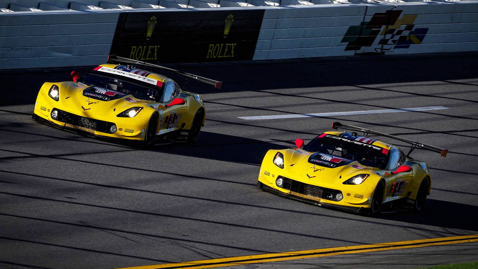 The No. 3 and No. 4 Mobil 1/SiriusXM Corvette C7.Rs.