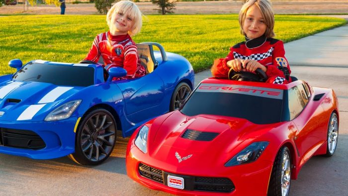 Kids with Corvette and Ferrari
