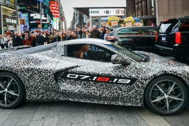 Mary Barra and Tadge Juechter Camouflaged Next Gen Corvette