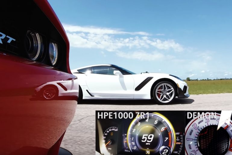 HPE1000 ZR1 Corvette vs dodge demon