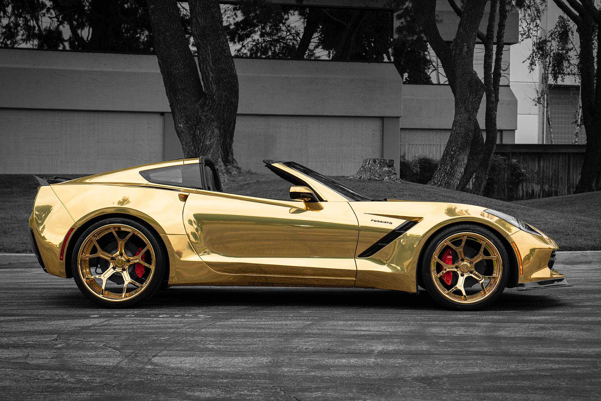 This Golden Convertible Widebody C7 Corvette Is Impossible ...