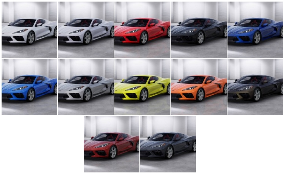 Available exterior paint colors for the 2020 Mid-Engine Corvette Stingray.