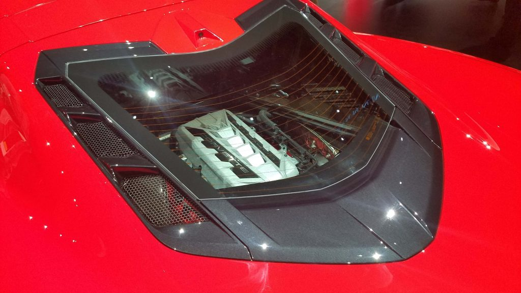 2020 Corvette engine as seen thru rear window.