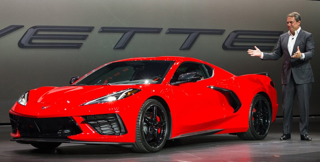 Mark Reuss introduces the 2020 Mid-Engine Corvette in July, 2019.