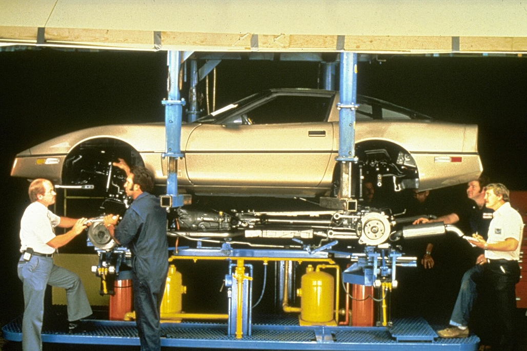 The pairing of a C4 Corvette body to its chassis. This photograph shows the Corvette components as they're about to be mated together at the Bowling Green Assembly Plant.