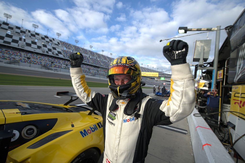 Jan Magnussen (after securing the GTLM pole) at the Rolex 24 Hours of Daytona in January, 2018.