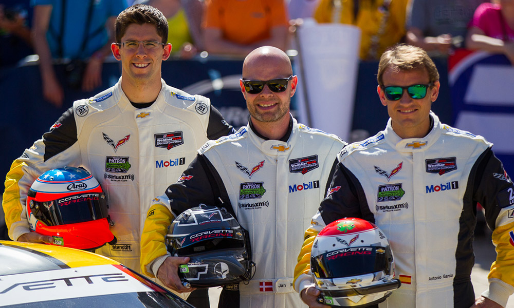 Jordan Taylor (left) will replace Jan Magnussen (middle) at the start of the  2020 IMSA WeatherTech Season as driver of the No. 3 Corvette Racing C8.R.  He is expected to join Antonio Garcia (pictured right) for the entire racing season.