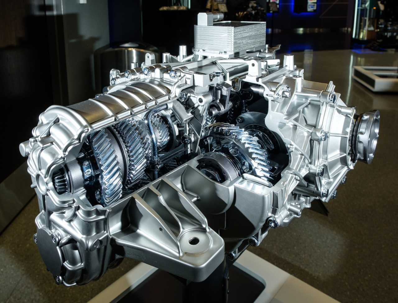 A cut-away version of the TREMEC eight speed dual-clutch transmission for the 2020 Corvette Stingray. The new mid-engine Corvette featuring the LT2 6.2L V8 engine and dual-clutch transmission can reach 60 mph in 2.9 seconds and cross the quarter mile mark in 11.2 seconds at 121 mph. (Photo by Steve Fecht for Chevrolet)