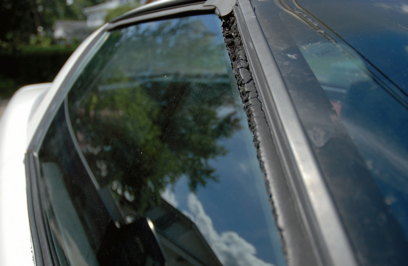 Always inspect the weatherstripping around windows, doors, front wheel wells (raise the clamshell hood), targa-tops and rear decklid. Look for dry-rot, cracking or weatherstripping that has pulled loose.