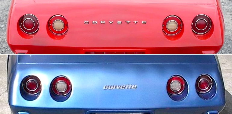 The 1976 Corvette included two different emblems on the rear fascia -one (top) was a carryover from 1975 while the other (bottom) was introduced in 1976.
