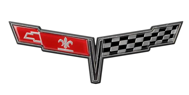 The 1980 Corvette featured a more elongated crossed flags emblem.