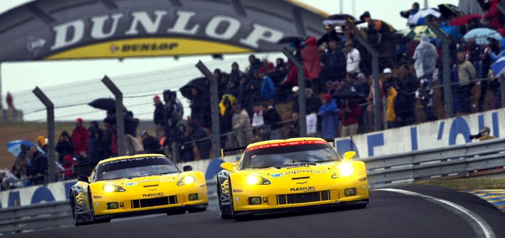 The 2013 Corvette Racing program at the 24 Hours of Le Mans shows the matched yellow-liveries of both the No. 3 and No.4 Corvettes.