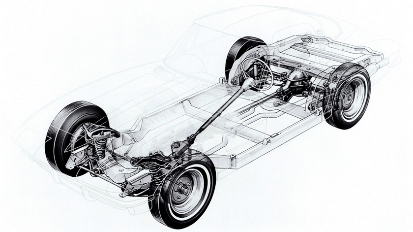 GM rendering of the 1963 Corvette chassis.