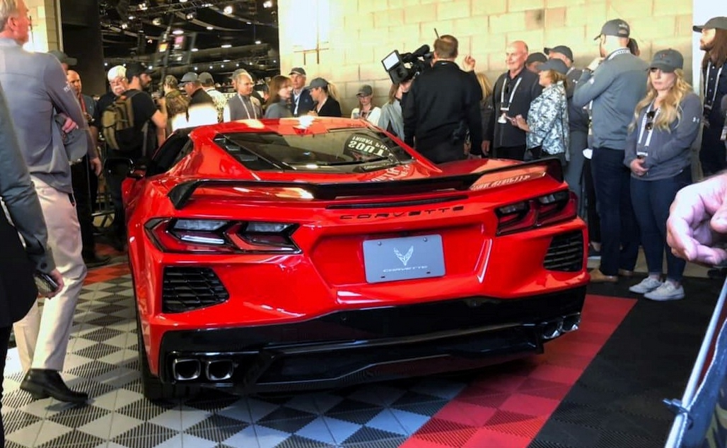 The Mid-Engine Corvette prepares to cross the Barrett-Jackson auction block.
