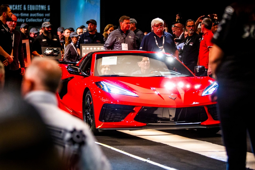 The 2020 Mid-Engine Corvette crosses the auction block at Barrett-Jackson in Scottsdale, Arizona.