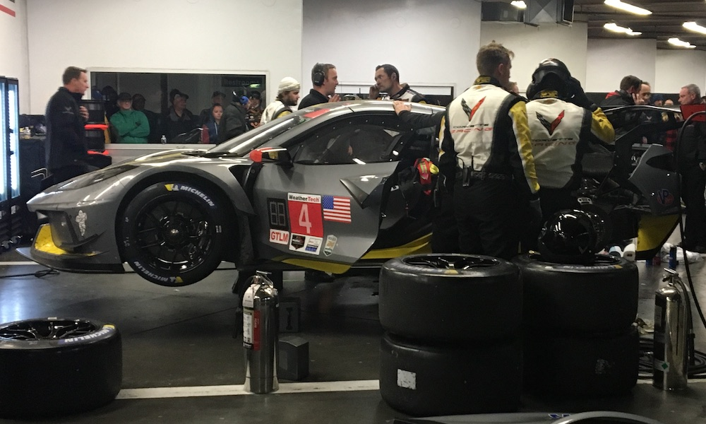 The Chevrolet team worked feverishly to get the Mid-Engine Corvette back on the track before the end of teh race.
