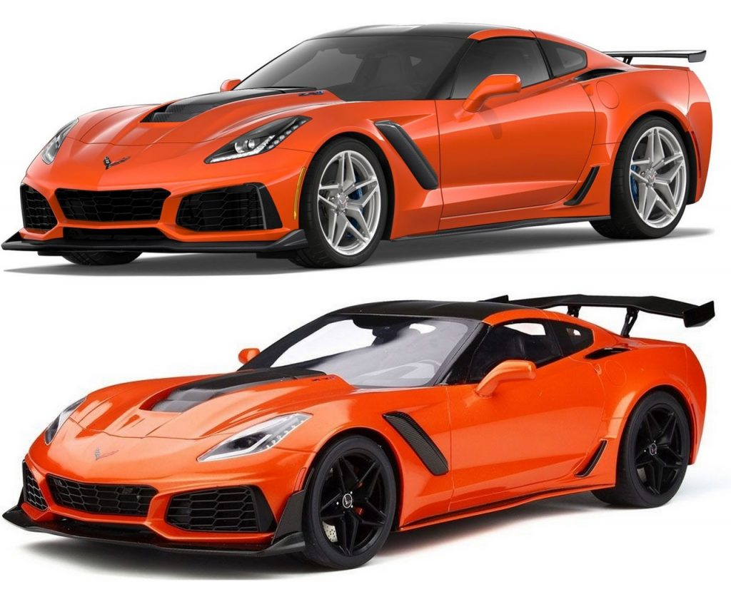 The 2019 Corvette ZR1 in Sebring Orange shown with the low wing (top) and the option high wing (bottom.)