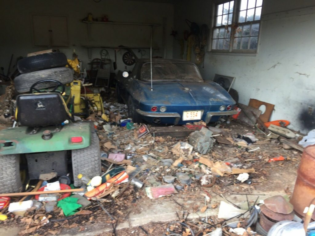 This 1965 Corvette was discovered in a garage after being buried beneath junk for nearly 50 years.