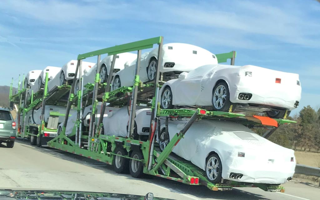 One of the first shipments of the 2020 Mid-Engine Corvette to dealerships across the United States.
