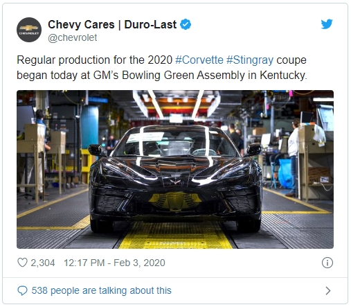 Chevrolet announces the start of production of the mid-engine Corvette via Twitter on February 3, 2020.