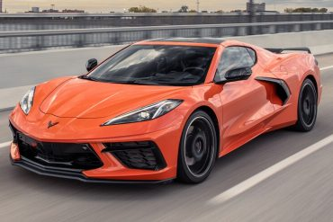 The 2020 Mid-Engine Corvette in Sebring Orange.