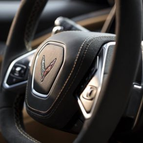 The steering wheel of the C8 Mid-Engine Corvette.