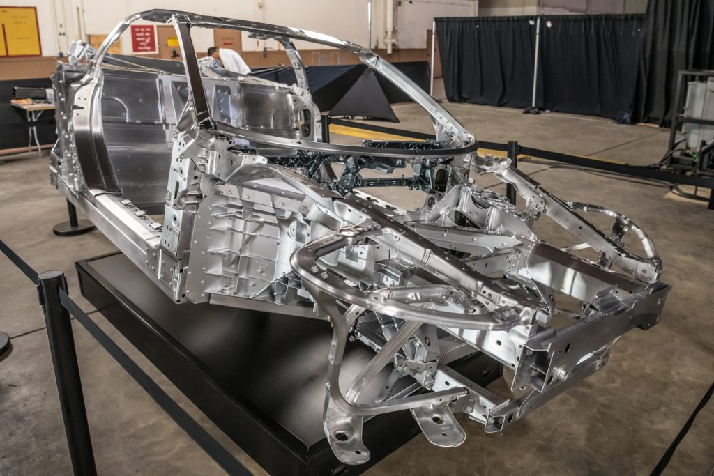 Chassis and composite sub-assembly of the eighth-generation Corvette.
