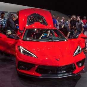 The 2020 Mid-Engine Corvette at the unveiling event on July 18, 2019.