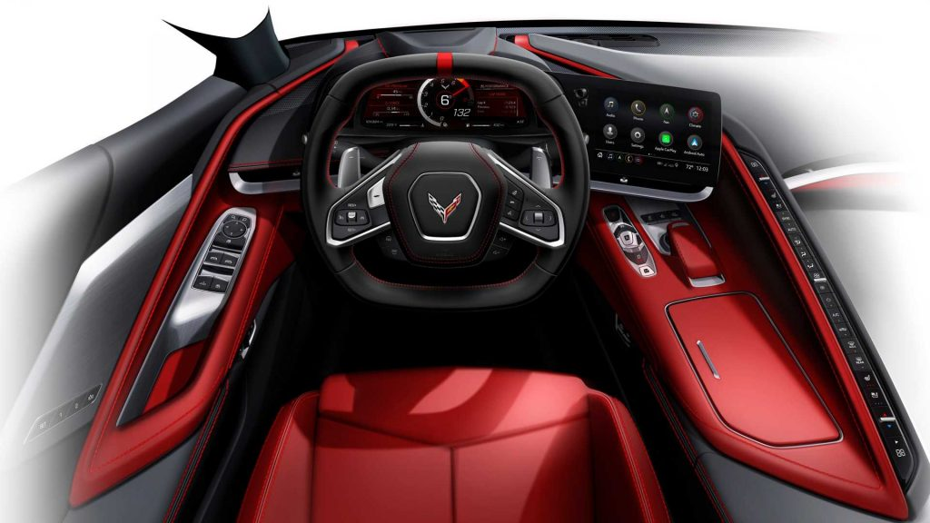 The cockpit of the all-new Mid-Engine Corvette.