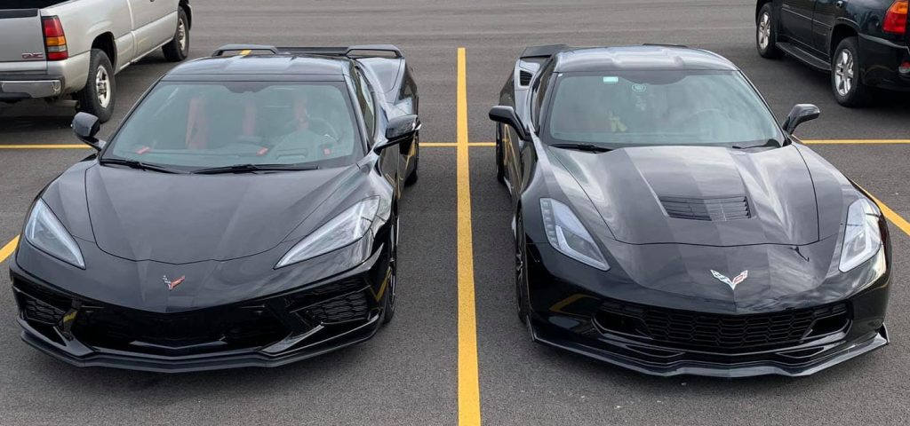 Although the mid-engine Corvette (left) is definitely a significant departure from its predecessors, there is no denying its Corvette heritage or its relationship to earlier models, such as the C7 to its right.