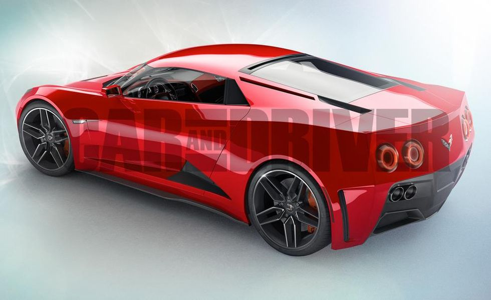 The Corvette Zora, which was believed to be a 2017MY vehicle, as rendered by Car and Driver for their 2014 article about the Mid-Engine Corvette.